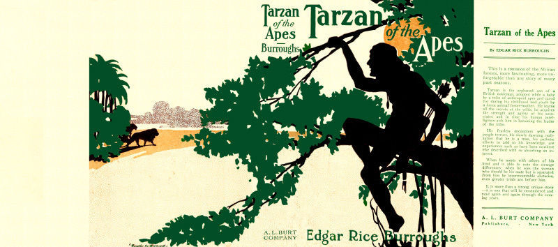 Burroughs, Edgar Rice. TARZAN OF THE APES facsimile dust jacket  1st Burt Co Ed.