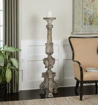 "Carved Restoration Style 57"" Floor Pillar Candle Holder Aged Wood Finish - $435.60"