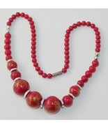 Vintage Asian Painted Red Lacquer Bead Necklace  - $9.70
