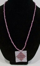 handmade pink beaded cross medallion pendant necklace - $11.00