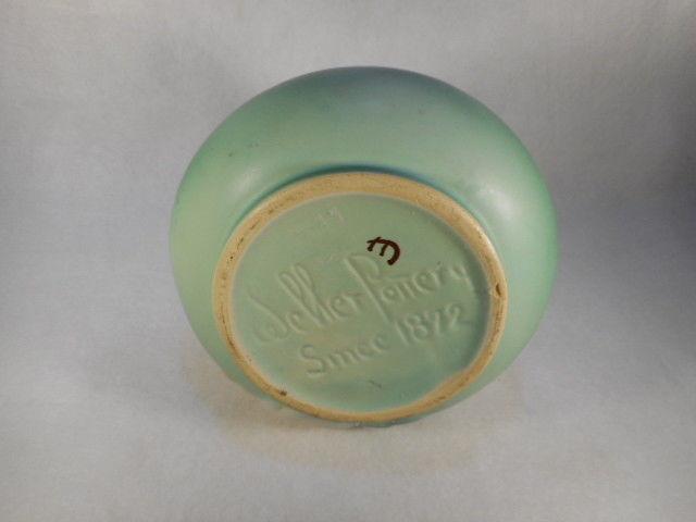 Vintage Weller Green Handled Ewer Pitcher