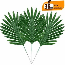 ElaDeco 36 Pcs Artificial Tropical Palm Leaves with Stems Luau Party Dec... - $18.68