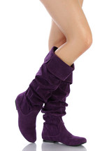 Purple Faux Suede Slouchy Knee High Flat Boot 5.5 us Qupid Neo-100xx - $14.99