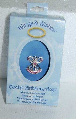 DM Merchandising Wings Wishes WGW10 October Birthstone Angel