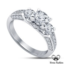 Diamond Engagement Three Stone Ring 14k White Gold Plated Pure Sterling ... - ₹5,528.82 INR