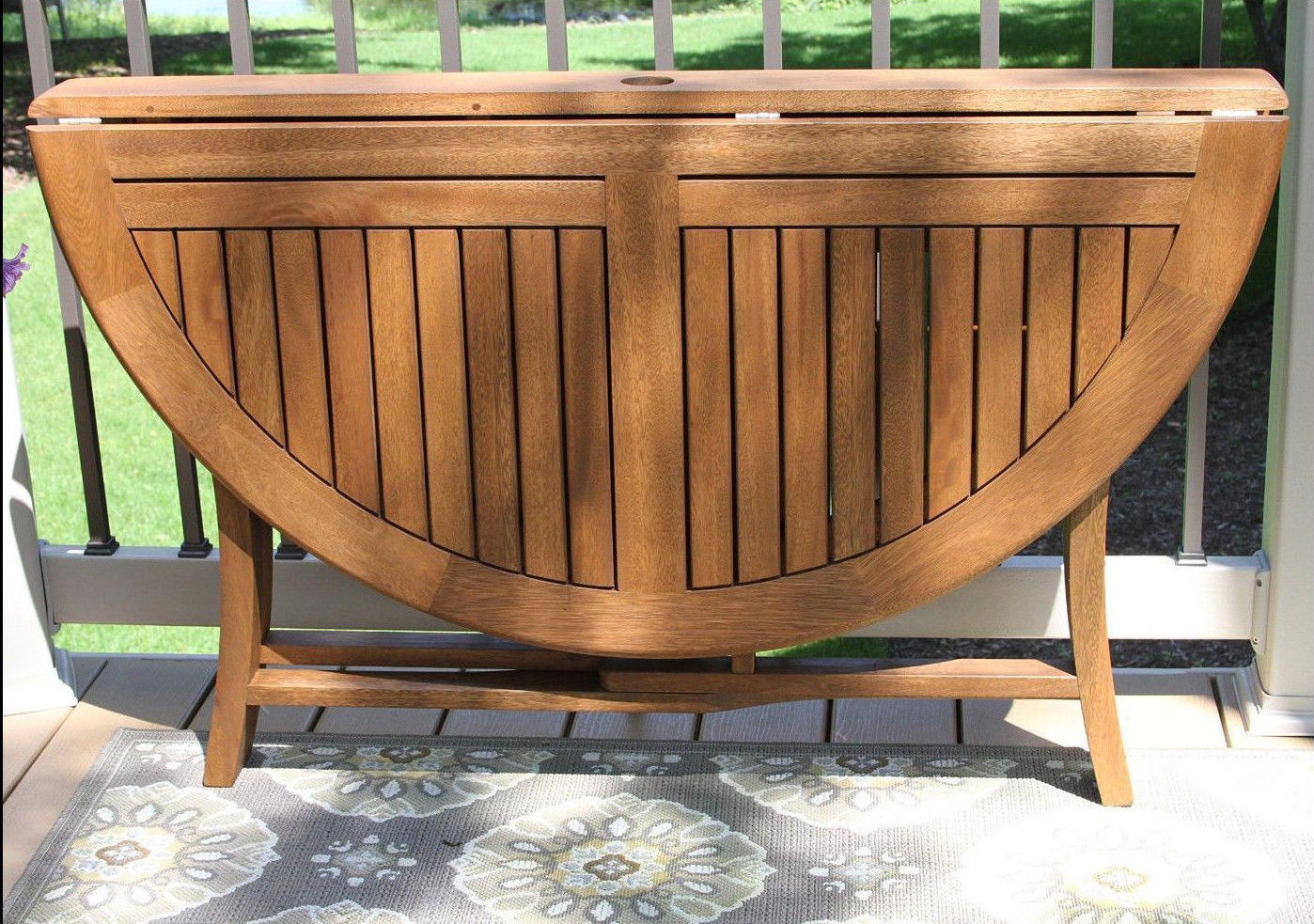 Outdoor Wood Dining Table Foldable 48 Inch Round Brown ...