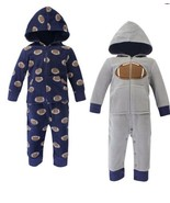 NEW 2 Piece Set - Baby Boy One Piece Hooded Fleece Jumpsuits, Size 9-12 ... - $19.87