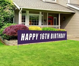 Blue Happy 16th Birthday Banner, Large 16th Birthday Party Sign, 16 Bday Party S image 1