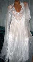 Nylon Robe & Gown Set  M White Lace Chiffon 2 piece Short Sleeves  - $34.95