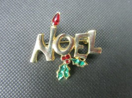 Vintage Costume Jewelry, Noel Brooch, Gold Tone, Red and Green Enamel PI... - $8.77