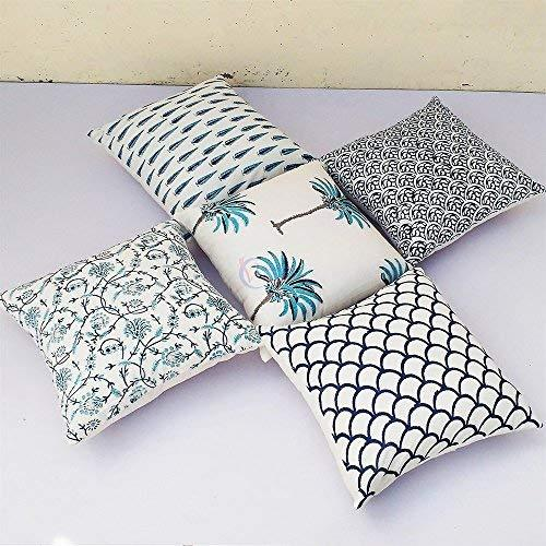 Primary image for Traditional Jaipur Set of 5 Block Print Fabric Indian Cushions Pillow Covers Dec