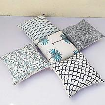 Traditional Jaipur Set of 5 Block Print Fabric Indian Cushions Pillow Co... - $34.64