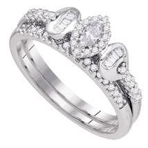 10k White Gold Marquise Diamond Bridal Wedding Engagement Ring Band Set 1/3 Cttw - $559.00