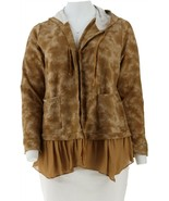 LOGO Lori Goldstein French Terry Hoodie Crepe Bronze M NEW A305481 - $55.42