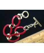 "7.5"" MONET Cranberry-Poinsetta-Red Enamel Gold Tone Chain Links Bracelet - $9.45"