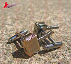 Thor Hammer Cufflinks with Brass Finish – Wedding, Father's Day, Gifts - $3.95