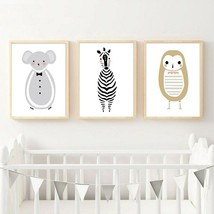 Woodland Animal Owl Zebra Canvas Art Painting Cartoon Nursery Posters and - $6.72+