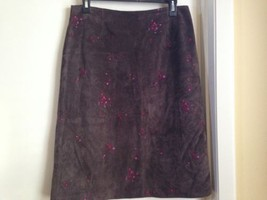 Ann Taylor Suede Leather Straight Skirt with Pink Floral Embroidery 8 - $27.01