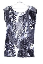 a.n.a Top Black & White Sequin Animal Print Design Pullover Long T Shirt... - $22.00