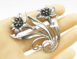925 Sterling Silver - Vintage Large Tropical Flower Pair Brooch Pin - BP... - $51.38