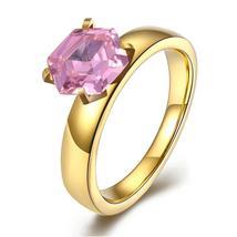 18K Gold over Stainless Steel Pink 1.00 Ct Swarovski Crystal Ring - $13.94