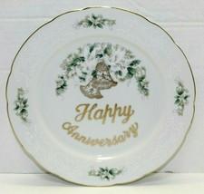 Vintage Lefton Silver Trim Porcelain Happy Anniversary Doves Decorative Plate - $22.77