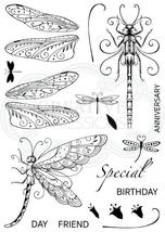 Dragonflies Stamp.  Pink Ink Design image 2