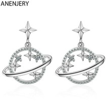 ANENJERY 925 Sterling Silver Glittery Universe Saturn Dangle Earrings [E... - $11.87