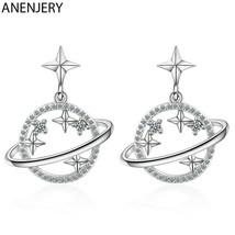 ANENJERY 925 Sterling Silver Glittery Universe Saturn Dangle Earrings [E... - £9.48 GBP