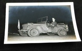 Black and White Photo of Man Sitting in Military Jeep 3 x 5 - $4.90