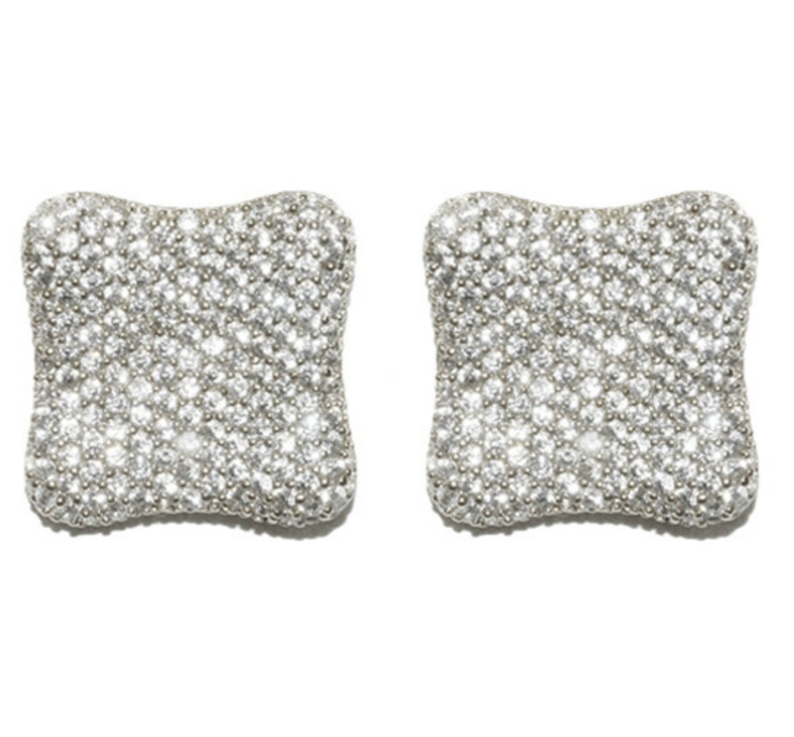 pave square modern fashion studs stud earrings cubic zirconia cz faux diamond earring jewerly 2