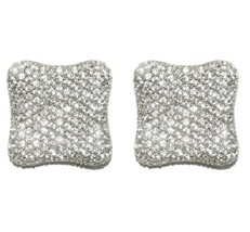 Deneen Pave Cluster Square CZ Stud Earrings | Cubic Zirconia | Silver - $50.95