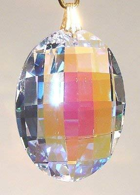 Swarovski 32mm Aurora Borealis Crystal Lattice Oval Prism
