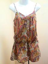 Zara S Top Tunic Multi-Colored Paisley Mini Dress Spaghetti Strap Cotton... - $16.64