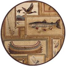 "8' Round (7'10"") Lodge Cabin Fish Fly Fishing Canoe Area Rug - €200,84 EUR"