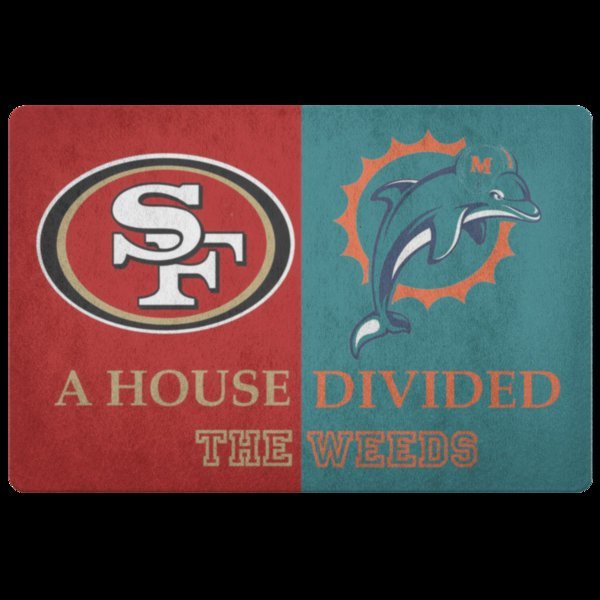 Miami Dolphins San Francisco 49ers House Divided Housewarming Welcome Door Mat E