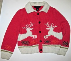 Lands End Thick Cardigan Sweater Red & Beige with Deer and Snowflakes Ch... - $24.75