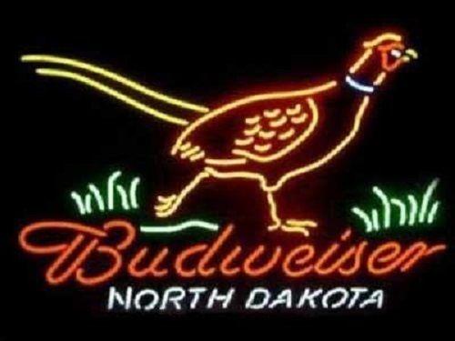 "New Budweiser North Dakota Pheasant Welcome Hunters Neon Sign 24""x20"""