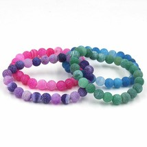 Natural Weathered Agate Colorful Stone 8mm Beads Charm Bracelet Tibet Ha... - $4.99