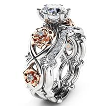 2pcs set Rhinestone Love Wedding Rings For Women Infinity Rose Flower Ri... - $14.39