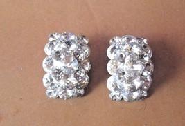 Vintage Large Sparkly Rhinestone Clip Earrings - $35.53