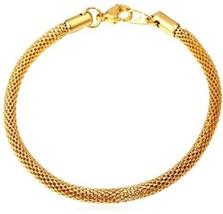 Men 5MM 18K Gold Plated Stainless Steel Round Mesh Chain Link Bracelet ,... - £24.57 GBP