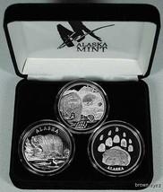 Alaska Mint 3 - BEAR SET Silver Medallion Proof  3 oz - $292.04