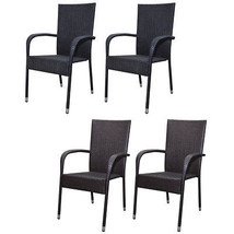 Patio Outdoor Garden Dining Chair Set of 2 Wicker Poly Rattan Black/Brown - $94.99