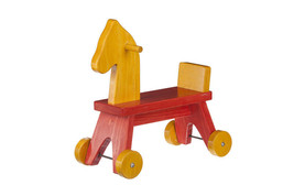TODDLER RIDE ON HORSE - Red & Yellow Wood Walker Toy - Amish Handmade in... - $120.51