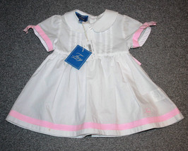 FAY JUNIOR Baby ITALY Girl WHITE Pink Bow DRESS 3 Months COTTON $280 Fre... - $97.05