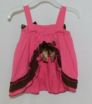 I Love Baby Hot Pink Brown Sun Dress Ruffle Bloomers Size 80cm 1 to 2 Year Old image 3