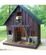 Rustic Birdhouse Lighted Wood Garden Yard Decor Bird House Handmade Prim... - $119.00