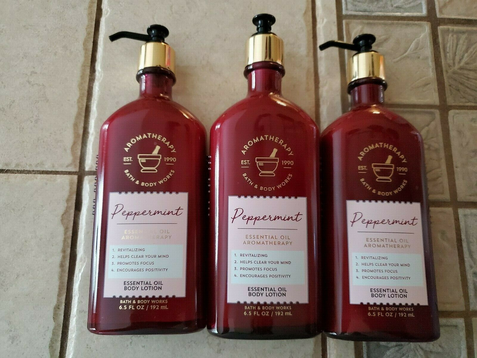 Primary image for Bath & Body Works Peppermint Essential Oil Body Lotion 6.5 fl oz (3 pack)