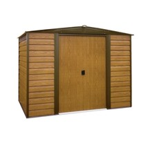 Metal Storage Building Barn 10 x 6 Lockable Double Door Brown Outdoor Ga... - $483.85